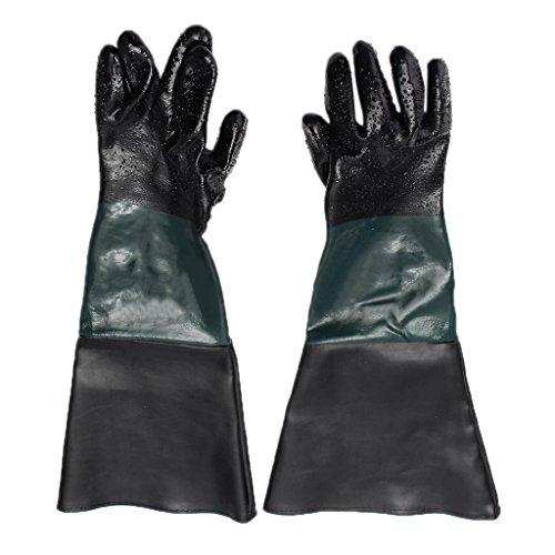 LOVIVER 60cm Lang PVC Sandstrahlhandschuhe Handschuhe für Sandstrahlkabine