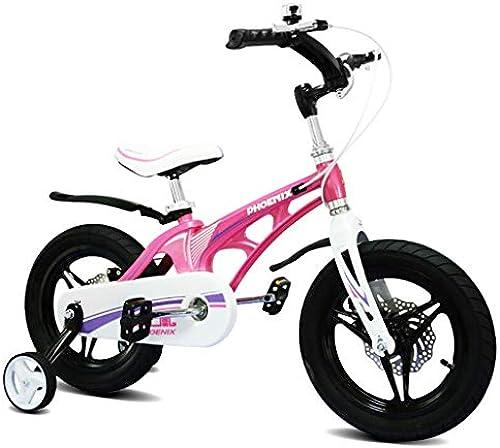 Kinderfürr r Mountainbike Jungenmädchenfürrad Stadtsportfürrad, Magnesiumlegierungsrahmen mit Hilfsrad (Farbe   Rosa, Größe   16inches)