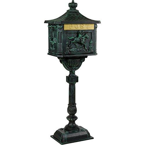 Maxstore Antiker Standbriefkasten aus rostfreiem Aluminium Briefkasten Postkasten groß antik Höhe 111 cm detailreiche Verzierungen 4 Farbvarianten Grün