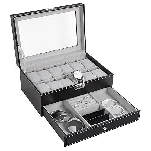 Caja de Reloj Reloj Box Mens 12 Slots PU Cuero Reloj de Cuero Organizador Joyería Pantalla Cajón Top de Cristal con Cerradura Negra Caja de Reloj (Color : Black)