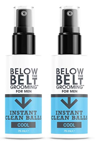 Below The Belt Grooming Instant Clean Balls - Ideal for Sports, Gym, Festivals & Travel - Minty Fresh 2 x 75ml