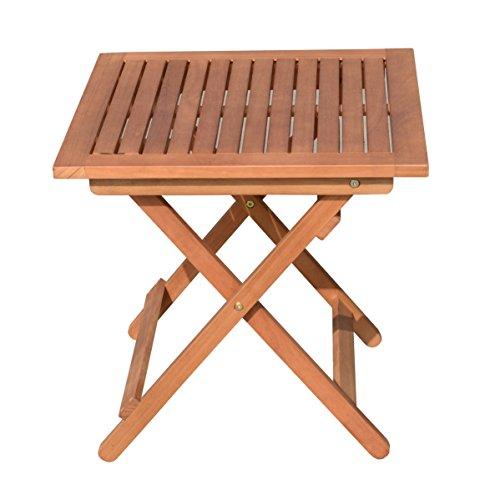 Unbekannt VARILANDO quadratischer Beistelltisch aus geöltem Eukalyptus Kaffeetisch Gartentisch Holztisch