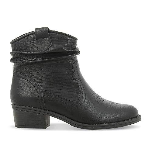 SPROX Botines de mujer de estilo occidental, botines de motorista para mujer con tacón y aspecto de piel de reptil, botas de invierno, color negro