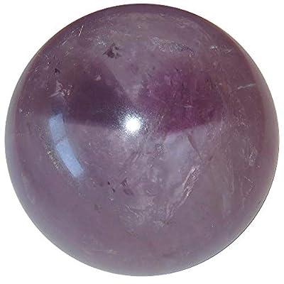 "Satin Crystals Amethyst Ball Collectible Clear Rainbow Gazing Portal Spiritual Bliss Stone Sphere, Brazil C58 (2.8"" Heart)"