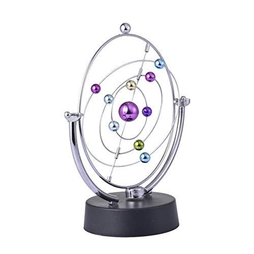 Juguete De Ciencia Física De Movimiento Perpetuo De Escritorio Electrónico con Bola Oscilante, Movimiento De Movimiento Newtons Balance Ball Toys, Nueve Planetas, Color del Cuerpo Celeste