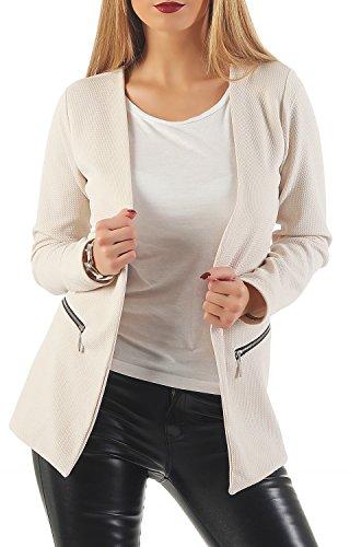 Damen lang Blazer mit Taschen (501), Farbe:Beige, Blazer 1:44 / XXL