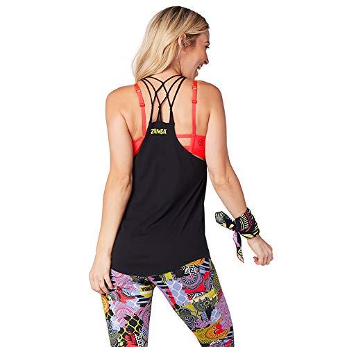 Zumba Camiseta de Entrenamiento Transpirable con Sexy Espalda Abierta para Mujer X-Pequeña 18 Negrita Negro