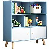 WHOJS Librería Vertical Estante Simple Admisión de Estudiantes Estantería pequeña para niños en casa con Puerta 80x24x107cm Autoportante Mensole(Color:Azul)