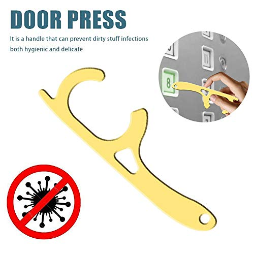 Sue-Supply Deur Opening Sleutelhanger Deur Druk Lift Tool Non-Contact Druk Lift Hand Stick Messing EDC Deur Opening Tool voor Houd Handen schoon