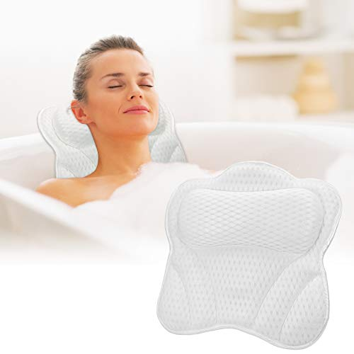 Luxury Bath Pillows Spa Bathtub Pillow Neck Head and Shoulders Back Support with Suction Cup Neck Pillow Bath Accessories 3D Mesh Breathable Headrest for Hot Tub, Jacuzzi and Home Spa Gifts for Women