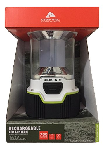 Ozark Trail 700 Lumen Lithion Ion Rechargeable Lantern, High Medium and Low Settings,White