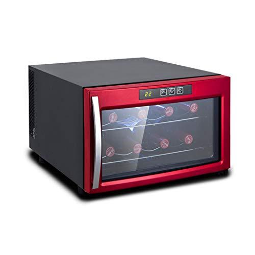 hanzeni Vinoteca - Refrigerador De Refrigerador De Vino Blanco Y Tinto Refrigerador De Vino De Encimera - Mini Refrigerador De Vino Compacto Independiente Capacidad para 8 Botellas- Rojo