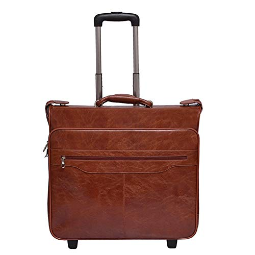 Adlereyire Trolley Bag 36 Liters,Lightweight and Waterproof Roller Bag Holdall with Wheels Functional Cabin Luggage Bag for Laptops up to 21' (Color : Brown, Size : 52 * 17 * 48cm)