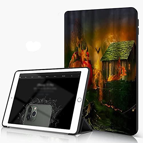 She Charm Carcasa para iPad 10.2 Inch, iPad Air 7.ª Generación,Campo de Calabaza de Halloween Dark Forest Night Fire Bat Cottage,Incluye Soporte magnético y Funda para Dormir/Despertar