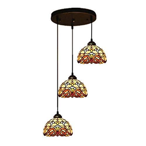 DALUXE Araña de Estilo Tiffany, Cabezas de Cristal tintadas de 3 Cabezas, Techo de decoración Retro suspendido para Sala de Estar de Comedor