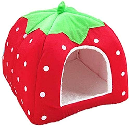 TIANYOU Cama para Mascotas Gato/Perro Pequeño Strawberry Pet Tent Cave,36X36X38Cm Territorios para Mascotas Almohada de Cojín con Desmontable Cómoda Casa de Mascotas Semicerradas,