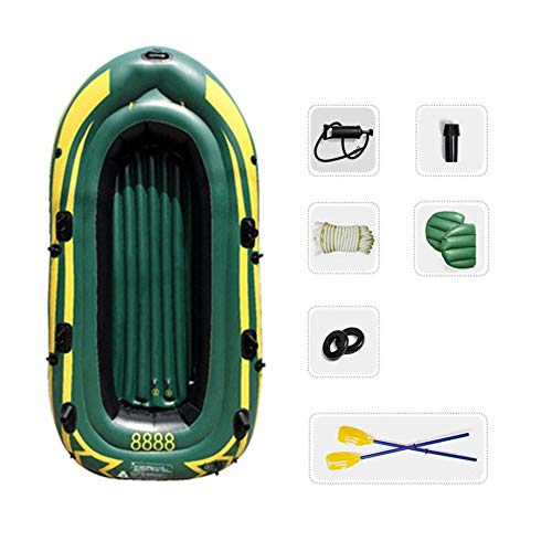 WNN Flotador del Barco del Agua Pro-Series Canoa del kajak Inflable Pesca 4 Persona ambientado con remos (Verde) URG