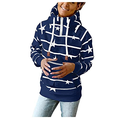 Briskorry Sudadera con capucha para mujer, para otoño e invierno, informal, con bolsillo, cordón y manga larga, estilo urbano, sudadera de manga larga, Blue-4, XXL