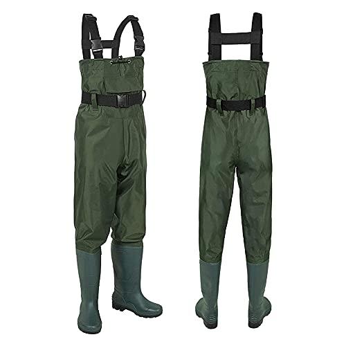 HNZNCY Vadeadores de pecho con botas de pesca para hombres y mujeres, caza, vagabundos de pecho, pantalones impermeables, pantalones cruzados, tallas de zapatos 4-13