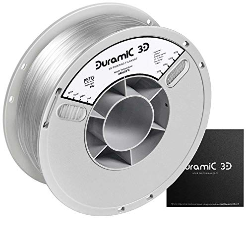DURAMIC 3D Clear PETG Printer Filament 1.75mm, 3D Printing Filament with Build Surface 7.87 x7.87in, 1kg Spool(2.2lbs), Dimensional Accuracy +/- 0.05 mm, Transparent