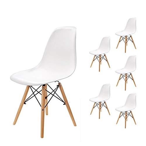 EGNM Set von 4/6 Kunststoff Wohnzimmer Stuhl Esszimmerstuhl Bürostuhl nordischen Stil (Weiß-6)