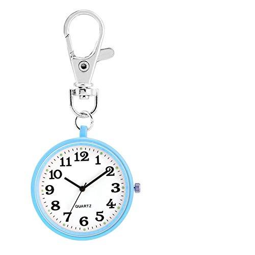 ZHAOXIANGXIANG Reloj De Bolsillo Retro,Pantalla Luminosa Llavero Enfermera Relojes De Bolsillo Movimiento De Cuarzo Números Arábigos Reloj Colgante Regalos para Enfermera Doctor, Azul