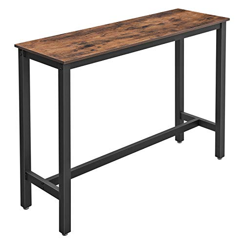 VASAGLE Bar Table, Narrow Rectangular Bar Table, Kitchen Table, Pub Dining High Table, Sturdy Metal Frame, 120 x 40 x 100 cm, Easy Assembly, Industrial Design, Rustic Brown and Black LBT12X