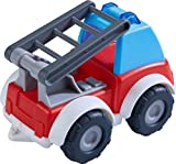 HABA 305182 - Spielzeugauto Feuerwehr, Spielauto für Kinder ab 2 Jahren für drinnen und draußen, Feuerwehrauto 13 cm mit Leiter für Jungen und Mädchen