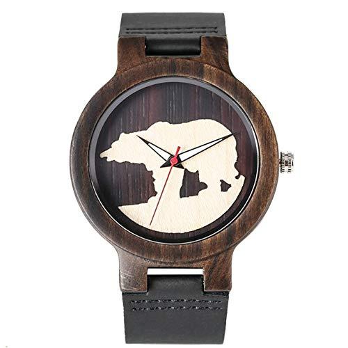 OIFMKC Reloj de Madera Reloj de Madera Retro para Hombre, Reloj de Cuarzo con Marca de Agua de Oso Polar 3D,Reloj de Madera Informal de Cuero deModapara Novio, Mejores rega
