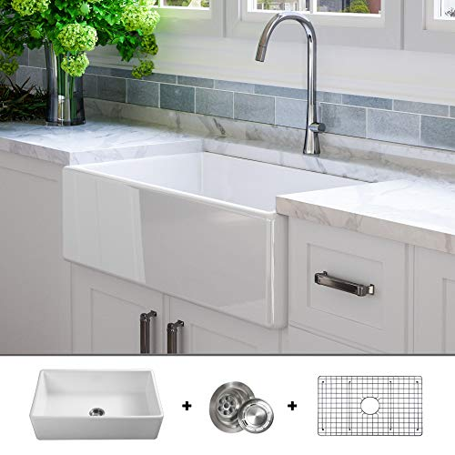 Luxury 33 inch Solid (NOT HOLLOW), Ultra-Fine Fireclay Modern Farmhouse Kitchen Sink in White,...