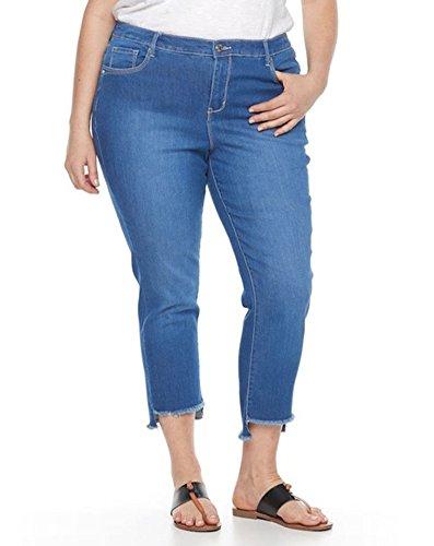 Gloria Vanderbilt Women's Plus Size Jordyn Frayed Ankle Jeans, Marieta Wash (24W)
