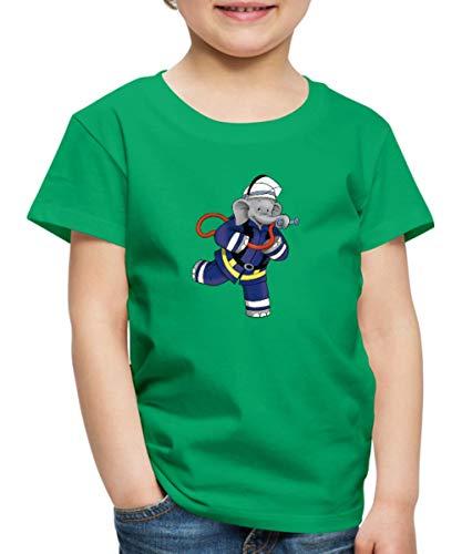 Benjamin Blümchen Als Feuerwehrmann Kinder Premium T-Shirt, 98/104 (2 Jahre), Kelly Green