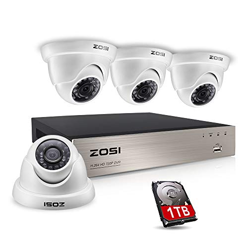 ZOSI Security Camera System 8CH 1080N/720P 4-IN-1 HD-TVI DVR Recorder with (4) 1.0MP 1280TVL Weatherproof Indoor/Outdoor Surveillance Dome Cameras, 1TB Hard Drive, Motion Alert& Remote Access (White)
