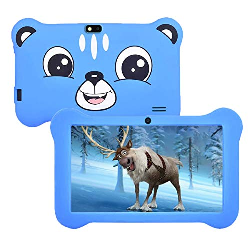 Kids Tablet, 7inch IPS HD Screen, GMS Certified Android 9.0 OS, 2GB RAM & 16GB ROM, with WiFi, Bluetooth, Dual Camera, Pre-Installed Parent Control APP-IWawa and Silicone Kid-Proof Case(Sky Blue)