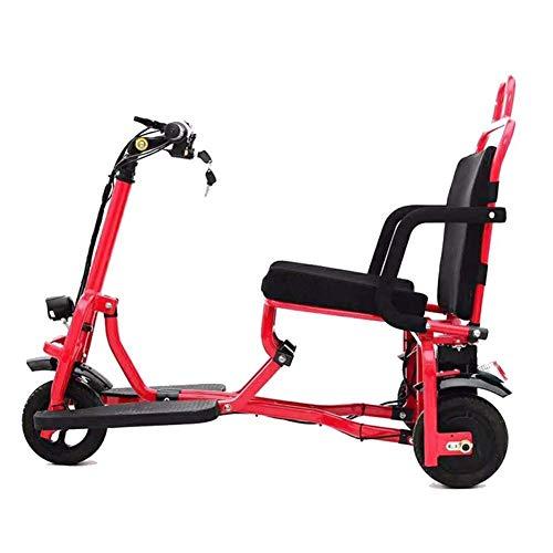 LJWJ Scootes Eléctricos Plegables de Silla de Ruedas Ligeros, Trooter de Tres Ruedas de Triciclo Eléctrico- 8-15Km / H- Millativo Millaje 30Km / Cargar 150Kg / para Los Ancianos Y Discapacitados, Sil
