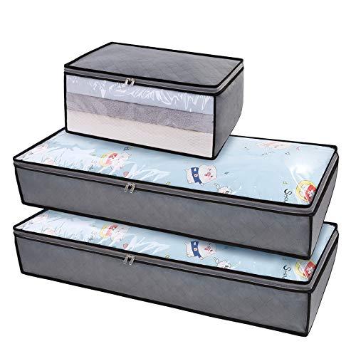 DIMJ 3 Pezzi Scatole per Armadio Grande Borsa di Stoccaggio con Compartimento Organizzatore del Sacchetto di immagazzinaggio per Coperte Lenzuola Indumenti Cuscini Riporre Vestiti Coperta (Grigio1)