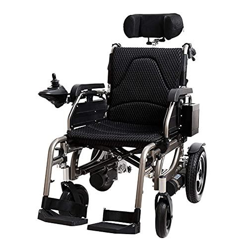 YIQIFEI Rollstuhl Faltbarer elektrischer Antrieb mit neigbarer Rückenlehne, Verstellbarer Kopfstütze und Polymer-Blei-Säure-Batterie (Stuhl)
