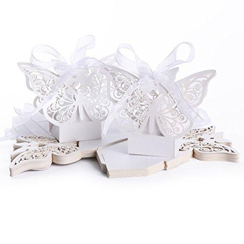 Tinksky Taglio Laser 50pcs matrimonio favore Box doccia compleanno caramelle scatole (bianco)