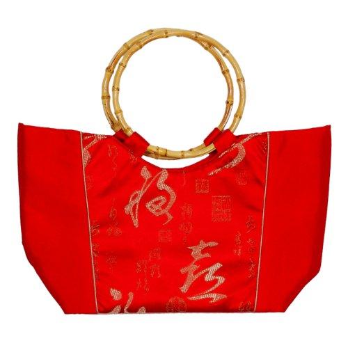 Tasche aus Seide mit Bambushenkel, rot, Handtaschen m. Bambusring, Damentaschen Bambus, Asiatisch, 6816