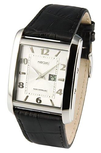 Elegante MARQUIS Herren Funkuhr (Junghans-Uhrwerk) Schwarzes Lederarmband mit Edelstahlverschluss, Gehäuse aus Edelstahl 964.4909