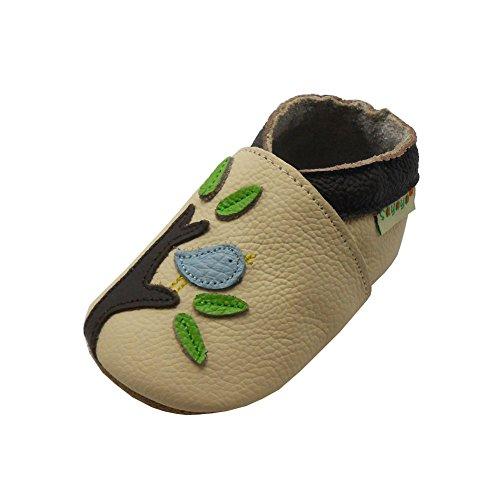 SAYOYO Premium Vogel und Baum WeichesLeder Lauflernschuhe Krabbelschuhe Babyschuhe mit Wildledersohle