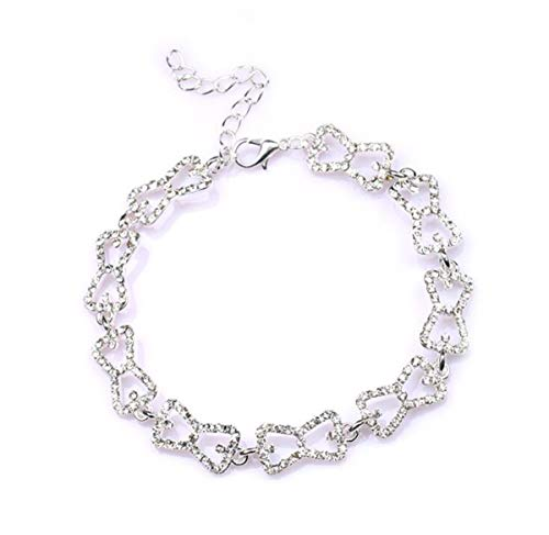 Baoleiju The Vampire Diaries Caroline Browknot Armband mit Schmuckbox, Diamantakzent, filigranes Pavé-Fassung, Armband für Damen, Mädchen (Silber)