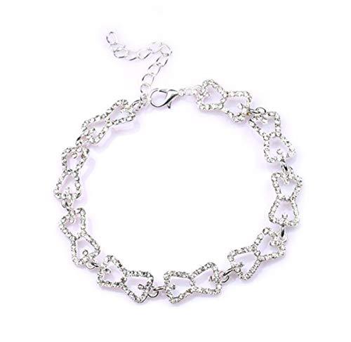 Baoleiju Pulsera de filigrana de diamantes con diseño de The Vampire Diaries Caroline Browknot con caja de joyería, pulsera de diario de vampiro para mujeres y niñas (plata)