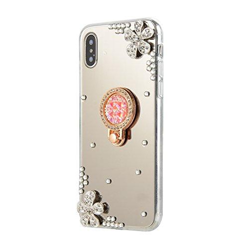 DasKAn Diamante de imitación Espejo Caso para iPhone XR 6.1'', con Soporte...