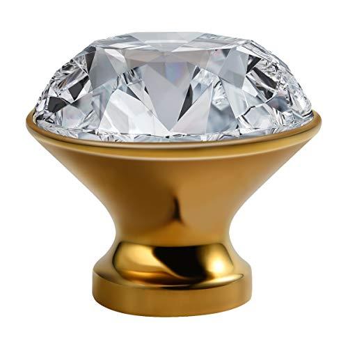 Tirador de cristal redondo dorado con forma de diamante de imitación, armario de zapatos, armario de vino Dabinet, pomo de cajón para puerta de muebles americanos, moderno y simple agujero con mango dorado (paquete de 8)