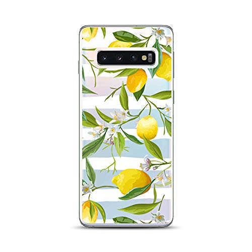Samsung Galaxy S10 Plus Case,Blingy's New Fun Fruits Style Transparent Clear Soft TPU Protective Case Compatible for Samsung Galaxy S10 Plus (Lemon Flower)