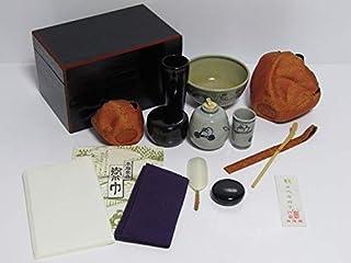 H18-7051[TOM] ほぼ未使用 面朱茶箱 茶道具セット 茶碗 茶入 茶杓 茶筅筒 茶巾 西陣織 仕覆 など