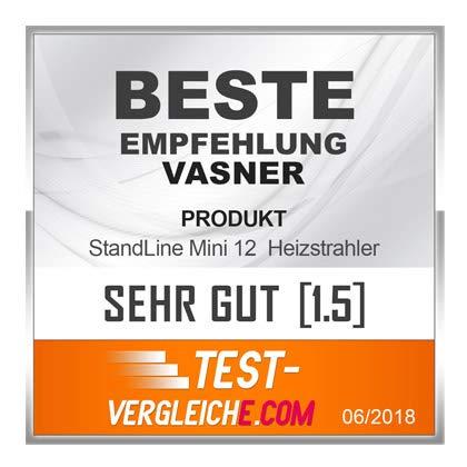 VASNER StandLine Mini 12 Infrarot Stand-Heizstrahler – schwarz – 1200 Watt mit Thermostat, Infrarotstrahler für überdachte Terrasse Außenbereich - 2