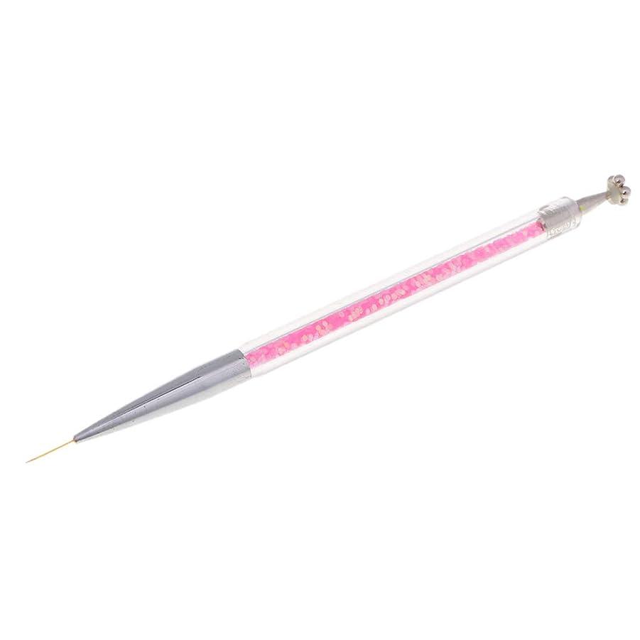 アロング恐れる農学Fenteer ネイルアートペン ネイルライナー ネイルブラシ ダブルヘッド マグネットチップ ペイントペン 3タイプ選べ - 11mmピンク