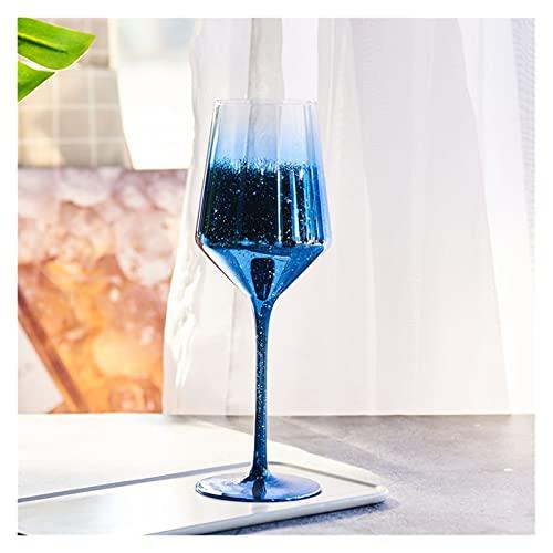 shiqi Copa de Vino nórdico Cristal de Cristal Copa de champán Gafas de Boda Vidrios Tazas Bar Party Hotel Decoración del hogar Accesorios (Color : Blue 460ml)